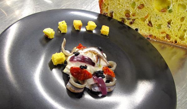 Alberto Basso - Burrata con alici, caviale di aringa e panettone Loison