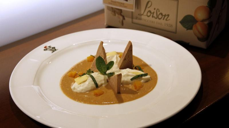 Stefano Agostini - Crema di Panettone Loison albicocca e zenzero, gorgonzola mantecato e foie gras