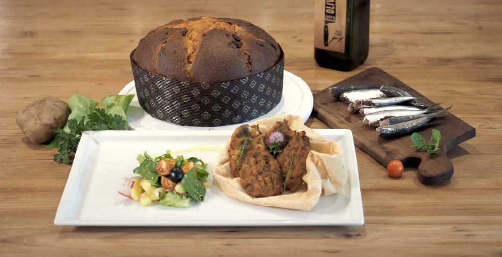 Sarde Impanate con Panettone Loison e insalata