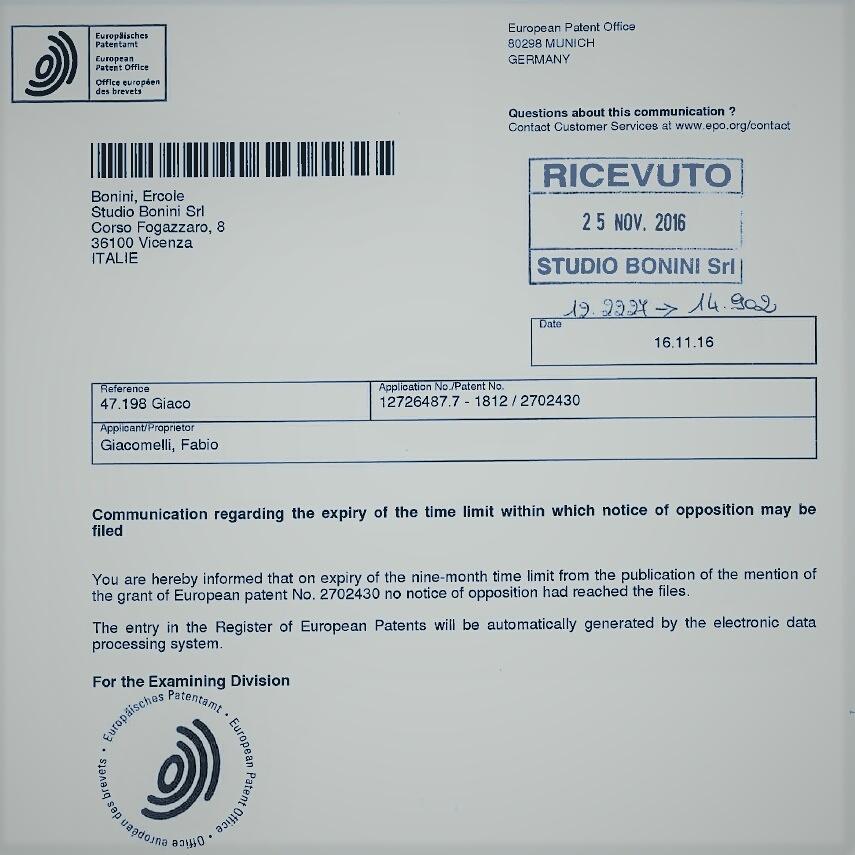 Nessuna opposizione è stata fatta al Brevetto Europeo n.2702430.